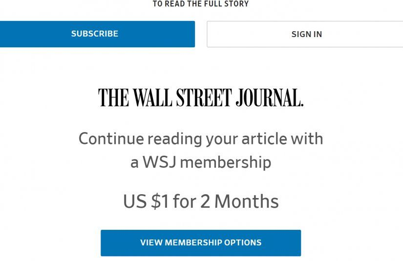The Wall Street Journal Paywall