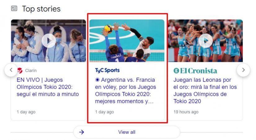 Ejemplo de LiveBlogPosting sobre las Olimpiadas.