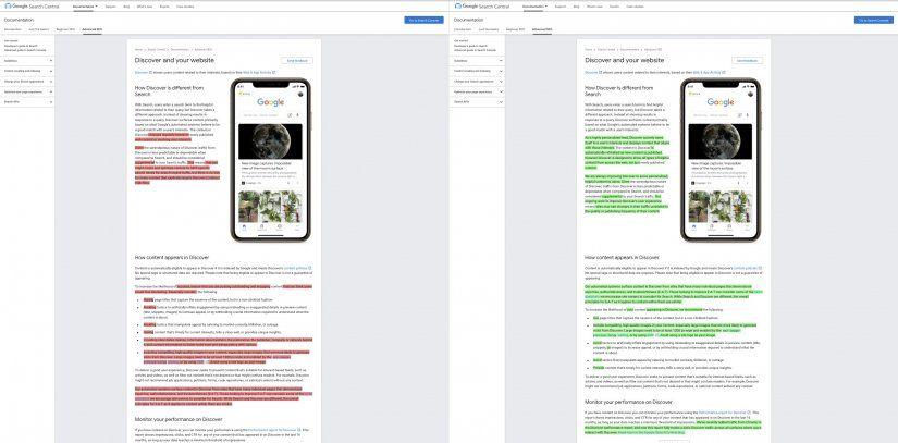 Google Discover: Comparación de las nuevas y viejas especificaciones.